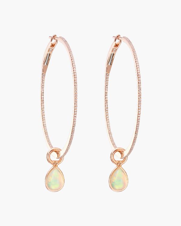 Nina Runsdorf Opal & Diamond Flip Charm Hoop Earrings | Diamonds/rose Gold