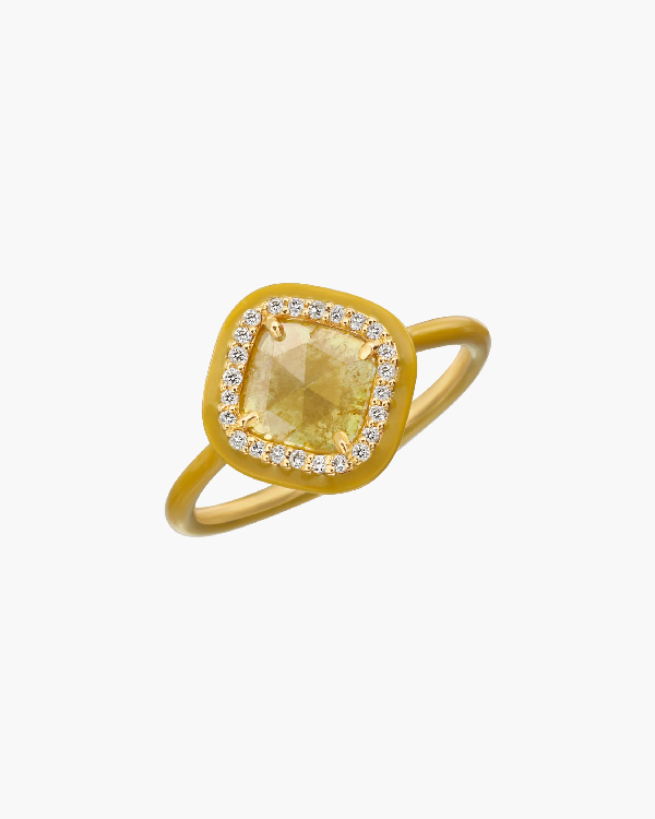 Nina Runsdorf Yellow Slice Diamond Ring In Gold