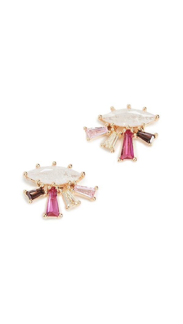 Theia Jewelry Ariana Stud Earrings In Gold Finish