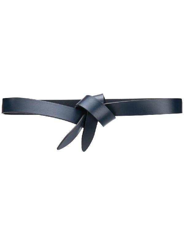 Isabel Marant Lecce Skinny Knot Leather Belt In Black