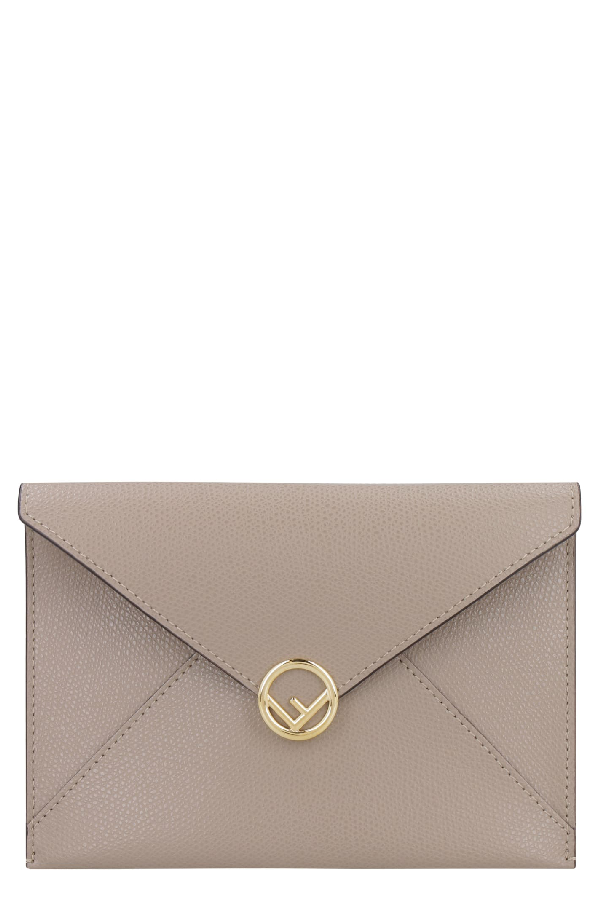 Fendi Leather Flat Pouch In Turtledove
