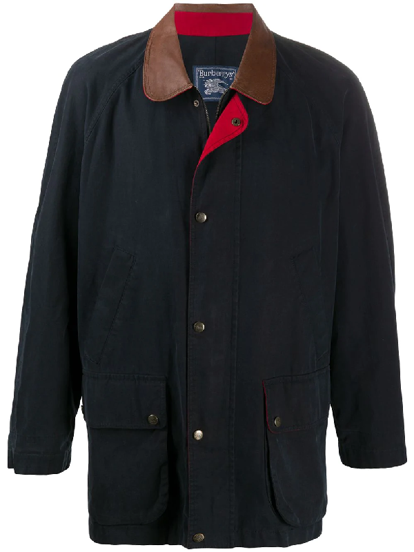 Burberry 1990s Cutaway Collar Coat In Blue