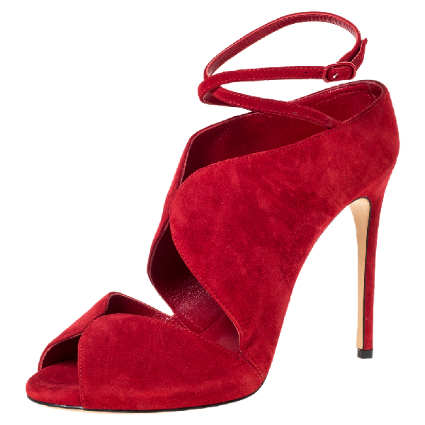 Casadei Red Cut Out Suede Ankle Wrap Sandals Size 37.5