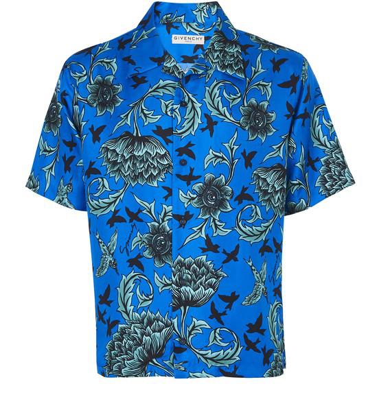 Givenchy Blue And Mint Green Silk Hawaiian Shirt