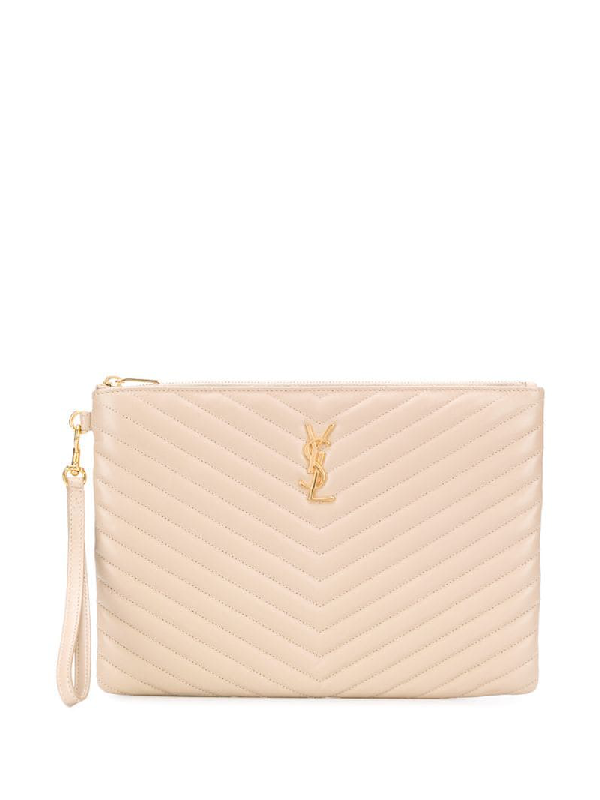 Saint Laurent Monogram Tablet Pouch In Pink