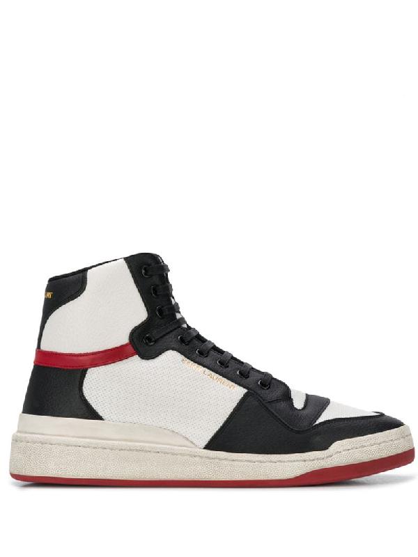 Saint Laurent Sl24 Multicolour Hi-top Leather Sneakers In White