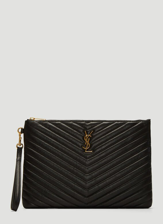 Saint Laurent Monogram Tablet Clutch Bag In Black