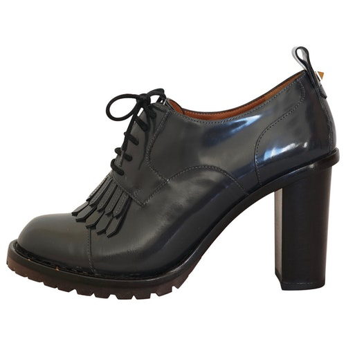 Valentino Garavani Grey Patent Leather Lace Ups