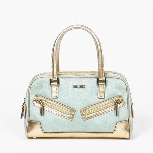 Gucci Boston Blue Cotton Handbag