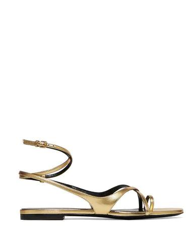 Saint Laurent Flip Flops In Gold