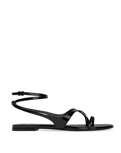Saint Laurent Flip Flops In Black