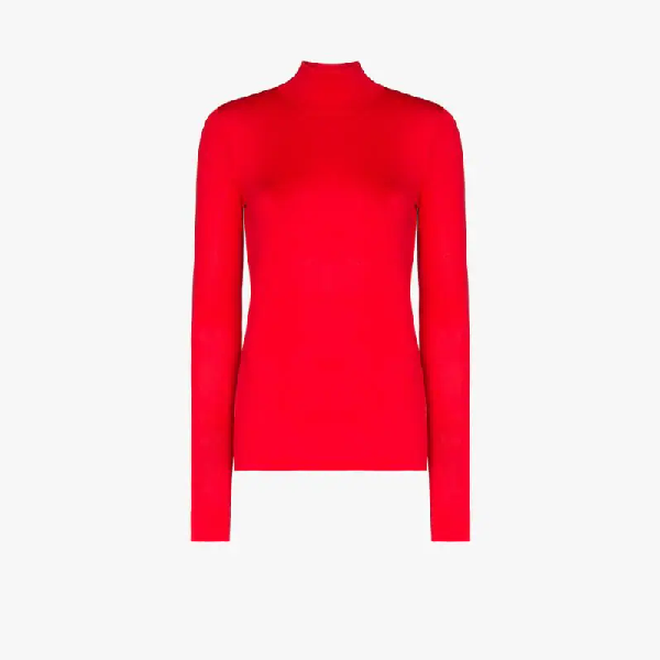 Les Rêveries Turtleneck Fine Knit Top In Red