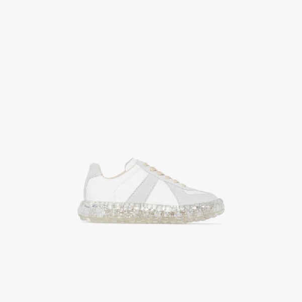 Maison Margiela Replica Airbag Heel Suede-paneled Leather Sneakers Siz In White