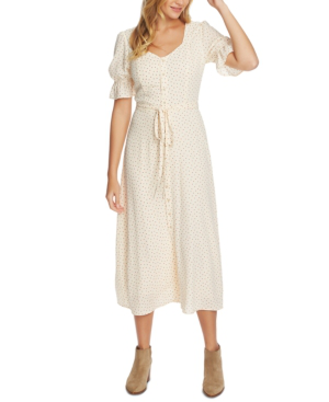 1.state Scattered Dot Puff-sleeve Midi Dress In Amber Rose