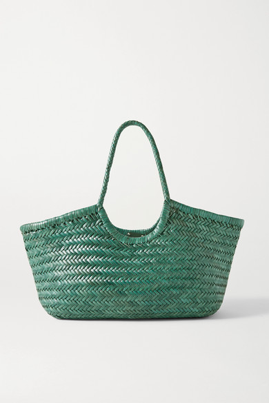 Dragon Diffusion Nantucket Large Woven Leather Tote In Emerald