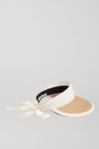 Eugenia Kim Ricky Grosgrain-trimmed Two-tone Straw Visor In Sand