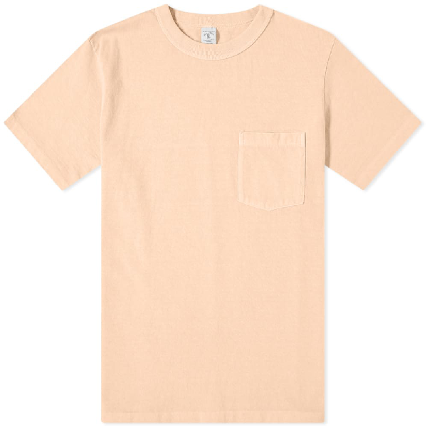 Velva Sheen Pigment Dyed Pocket Tee In Orange