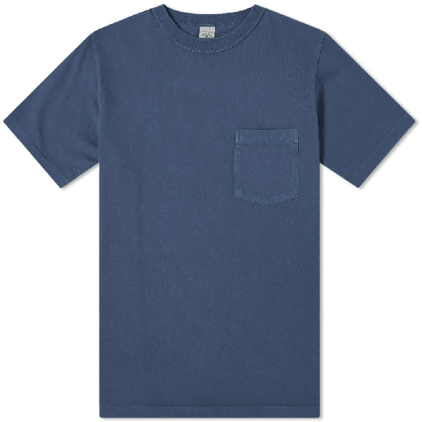 Velva Sheen Pigment Dyed Pocket Tee In Blue