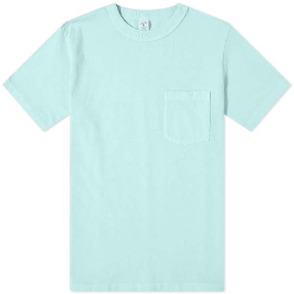 Velva Sheen Pigment Dyed Pocket Tee In Blue