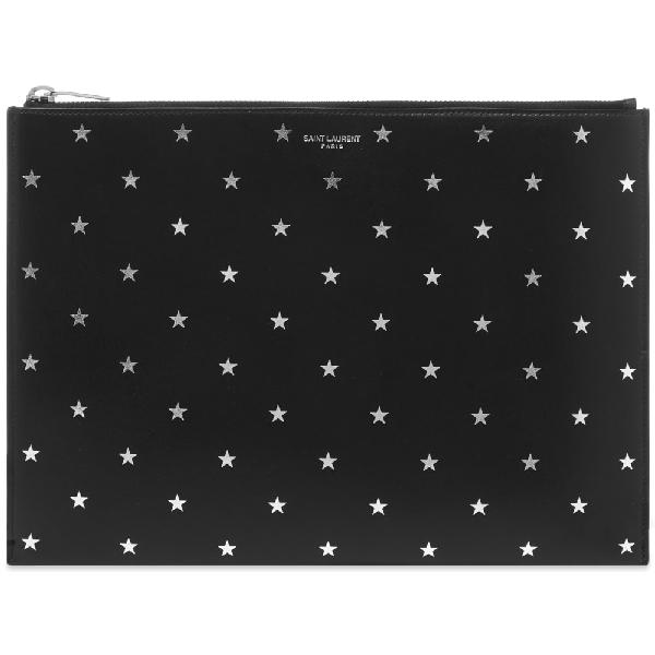 Saint Laurent Silver Star Tablet Holder In Black