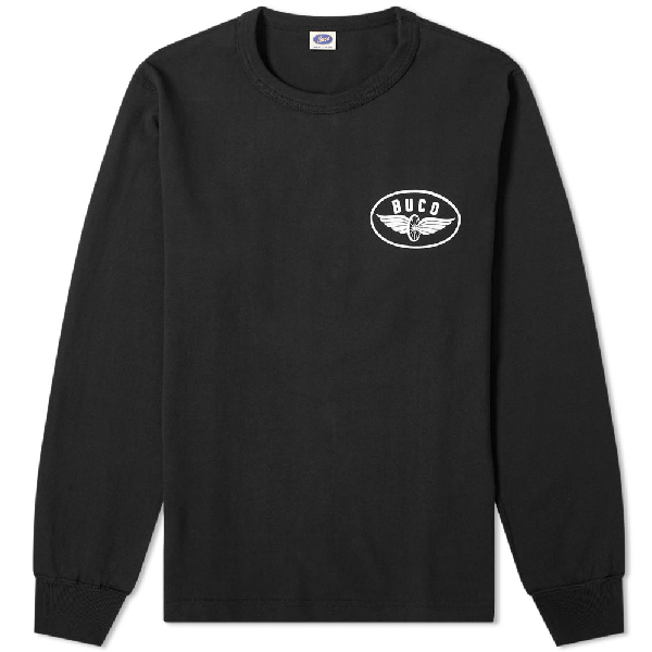 The Real Mccoys The Real Mccoy's Long Sleeve Buco Riding Togs Tee In Black