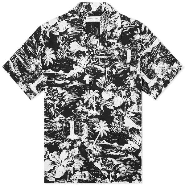Vanquish Tropical Print Open Collar Shirt In Black
