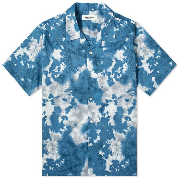 Vanquish Tie-dye Open Collar Shirt In Blue