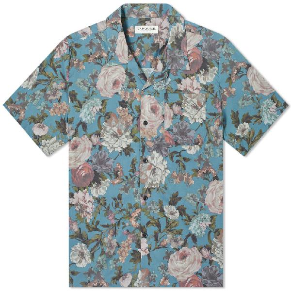 Vanquish Antique Flower Open Collar Shirt In Blue