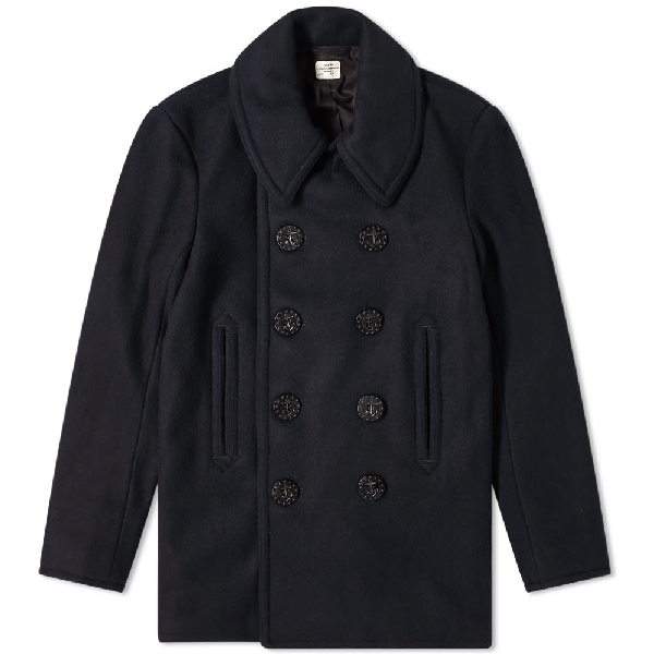The Real Mccoys The Real Mccoy's U.s. Navy Peacoat In Blue