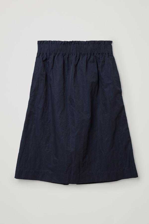 Cos Organic Cotton-metal Fibre Mix A-line Skirt In Blue