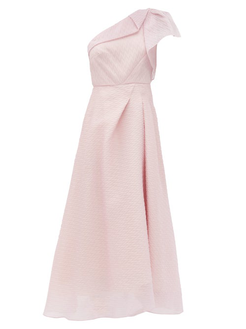 Roland Mouret Ostuni One-shoulder Silk-blend Organza Dress In Light Pink