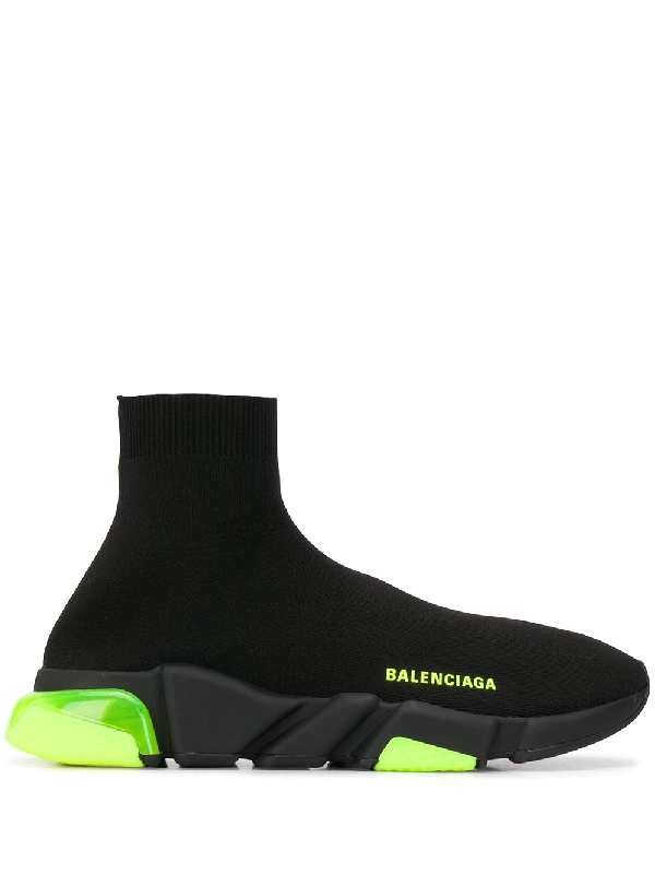 Balenciaga Black And Neon Yellow Knit Speed Sneakers