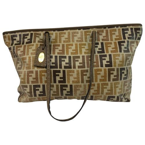 Fendi Roll Bag  Camel Cloth Handbag