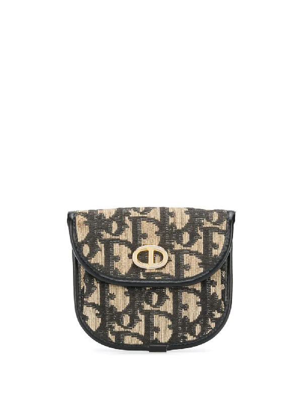 Dior Pre-owned Trotter Print Coin Pouch In 棕色