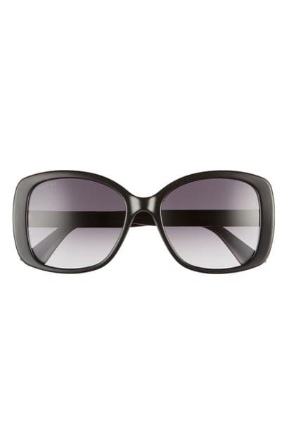 Gucci 56mm Gradient Square Sunglasses In Black/ Grey