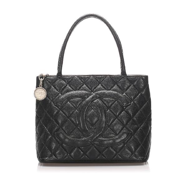 Chanel Caviar Medallion Tote Bag In Black