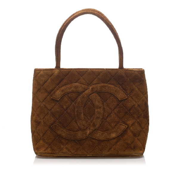 Chanel Suede Medallion Tote Bag In Brown