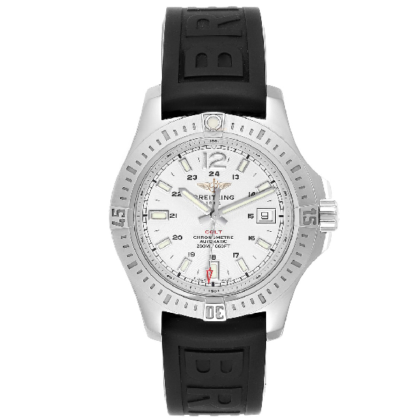 Breitling Colt 41 White Dial Automatic Mens Watch A17313 Box Papers In Black