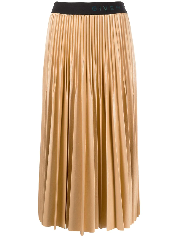 Givenchy Camel Pleated Coated Jersey Midi Skirt In Neutrals