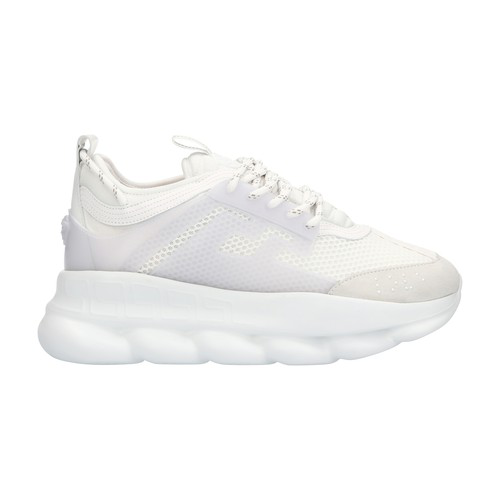 Versace Chain Reaction Leather, Mesh And Suede Sneakers In D01 Bianco