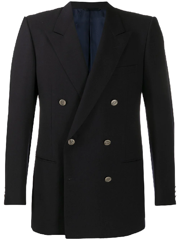 Saint Laurent 1970s Double-breasted Blazer In Blue