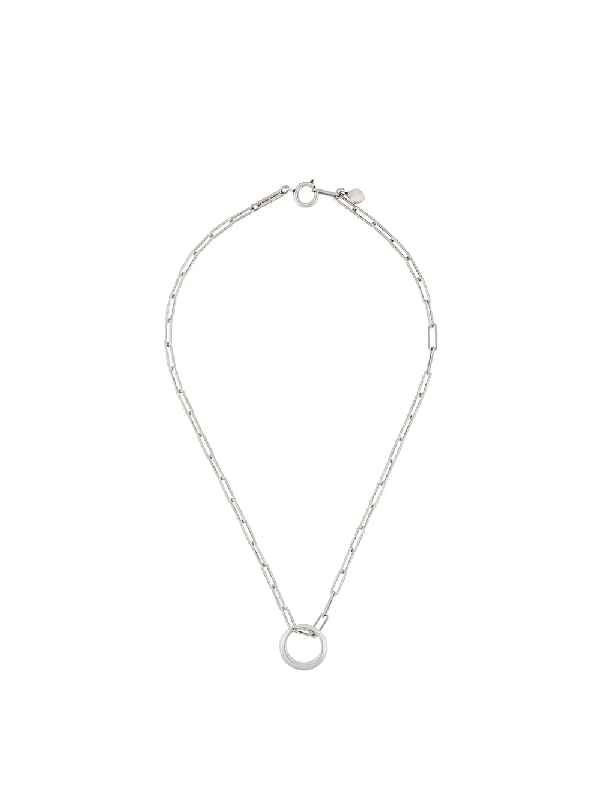 Isabel Marant Cable Chain Circle Charm Necklace In Silver