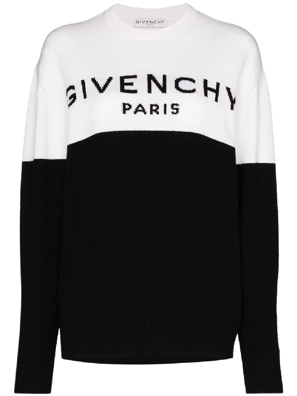 Givenchy Black & White 'paris' Logo Cashmere Sweater In Weiss