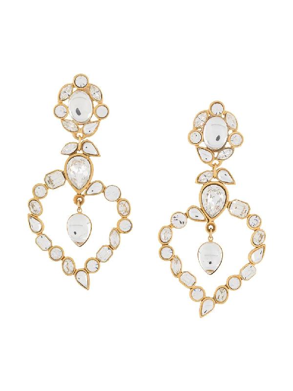 Saint Laurent 1990s Dangling Heart Earrings In Gold