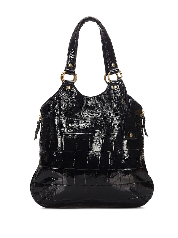 Saint Laurent Varnished Crocodile Effect Tote In Black