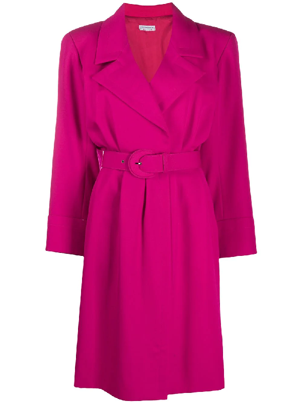 Saint Laurent Notched Collar Dress In Pink