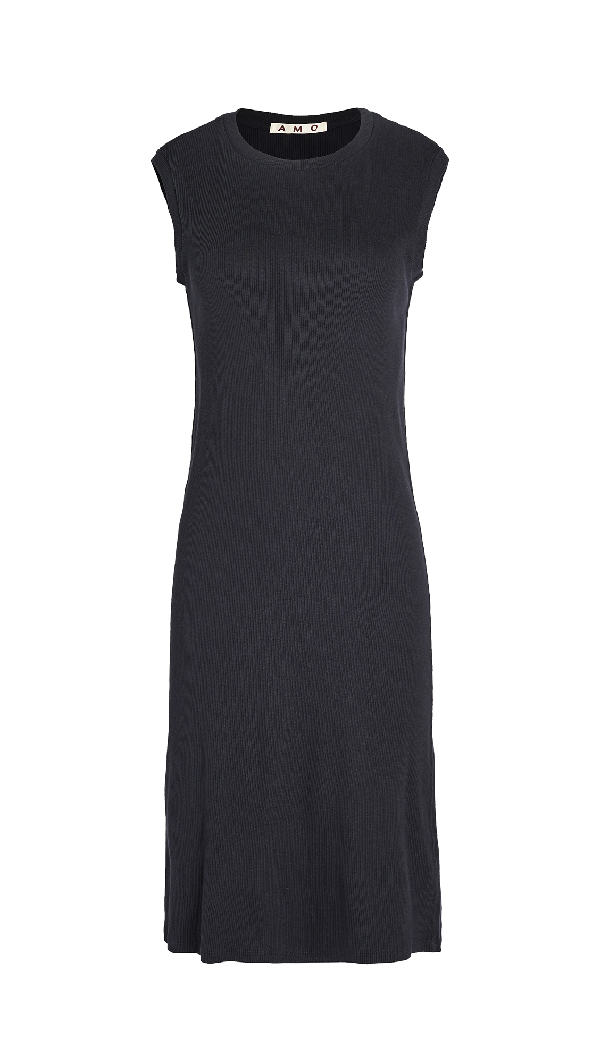 Amo Sleeveless Rib Dress In Vintage Black