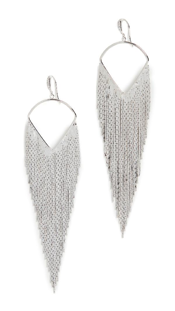 Theia Jewelry Nora Linear Drop Earrings In Gun Metal