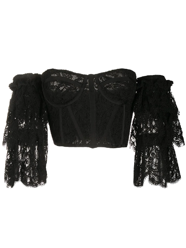 Zuhair Murad Lace Off-the-shoulder Top In Black