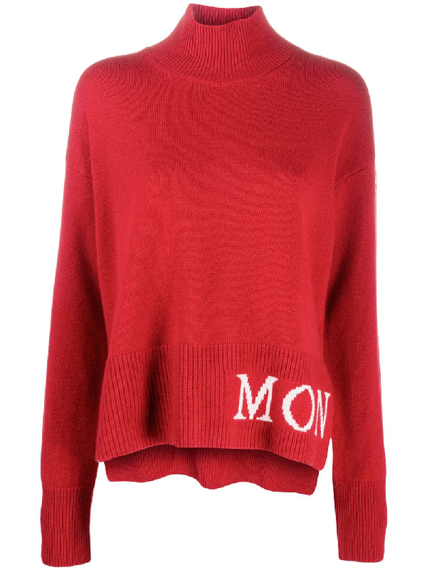 Moncler Logo Intarsia Roll Neck Jumper In Red